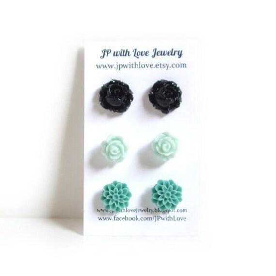 Black Stud earrings, Stud earrings, teal stud earrings, green mint Stud earrings,  resin flower rose, set of 3, resin flower jewelry