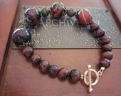 Brown Agate and Tiger's Eye 14k Gold-Filled Bracelet