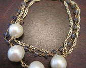 2 Gold Chain Freshwater Pearls and Purple Stone Bracelet