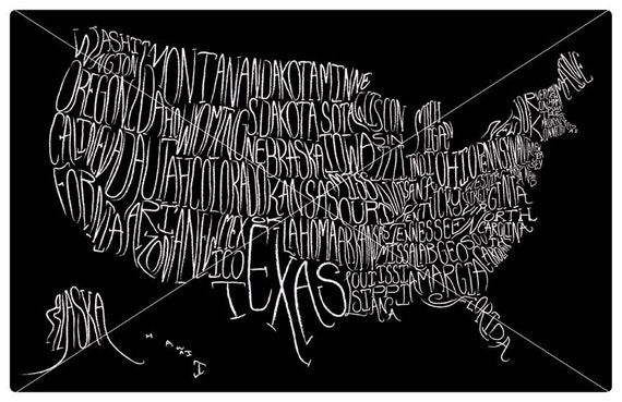 Typographic Map of the United States (11x17)