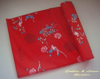 Pure Cotton Fabric - Traditional Chinese Painting - 1/2 Yard