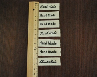 Hand Made in 7 Fonts - Black - Cotton Label Tape - 1 yard