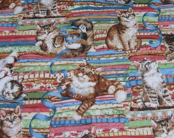 Cotton Fabric - Cats and Ribbbons - 1/2 yard