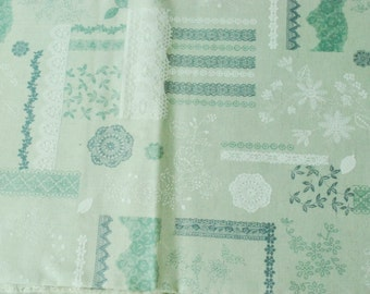 Cotton Fabric - Lace and Flower - 1/2 Yard