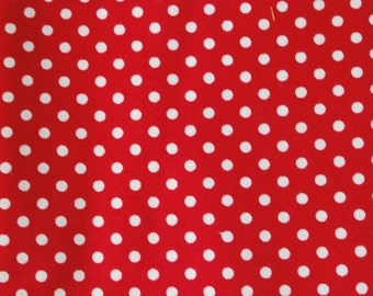 Cotton Fabric - White Polka Dots with Red - 20in x 27.5in