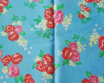 Pure Cotton Fabric - Red Roses with Sky Blue - 20in x 27.5in