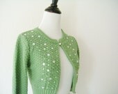 One of a Kind 30s Inspried Spring Green Knitted Cropped Cardigan Size XS