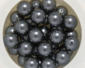 10 Dark Grey Swarovski Crystal Pearls