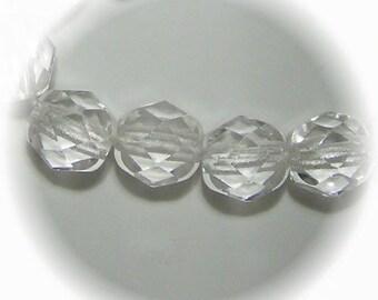 6mm Preciosa Czech Fire Polish Beads - CRYSTAL
