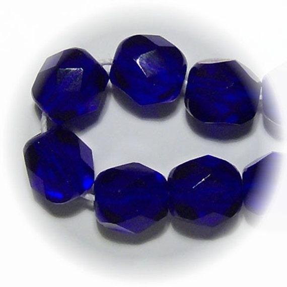 10 6mm Preciosa Czech Fire Polish Beads - COBALT