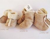 Baby boot / baby bootie, faux suede  -Golden Tan