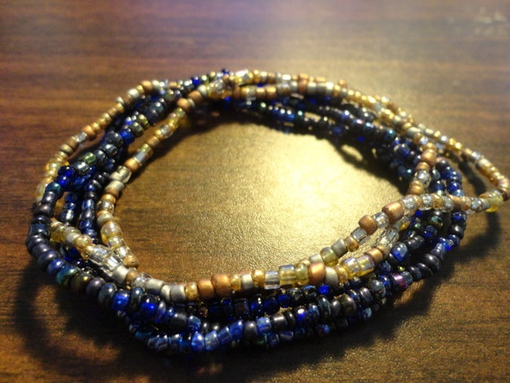 5 seed bead stretch bracelets - dark blue, gold/silver