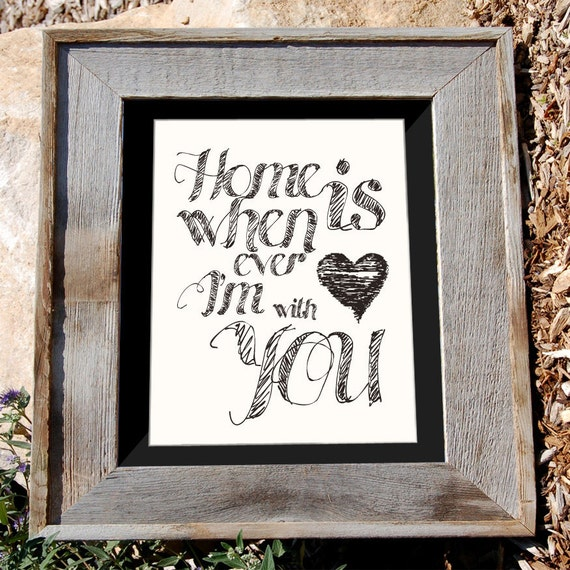 "Bicycle Art Print - 8x10"" - ""Home is Whenever I'm with you"" - Heart Typographic"