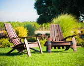 Wine Barrel Adirondack Chair Set, 2 Chairs and a Free End Table!!