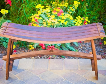 Wine Barrel Garden Bench Seat- New Price!! Reclaimed Recycled Wood, Wine Barrel Bench, Seat