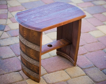 Wine Barrel End Table, Stool, Bench