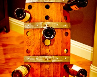 Reclaimed Recycled Wood Wine Barrel Riddling Wine Rack For Storage