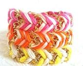 Neon & Neutral - Choose One - Bracelet Turned Necklace - Chevron Braided Modern Friendship Bracelet