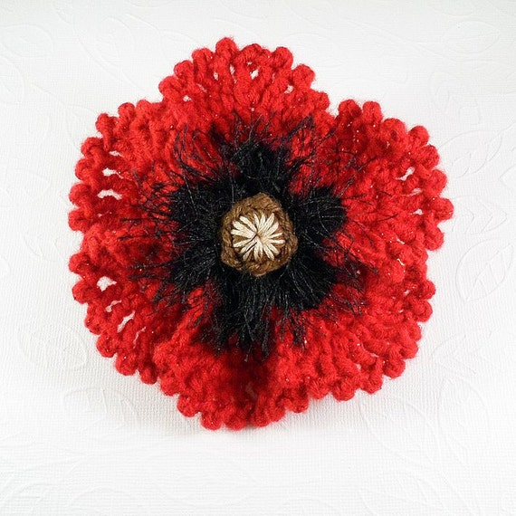 Free Crochet Poppy Brooch Pattern : Crochet Poppy Brooch