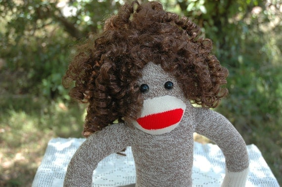 Large Vintage Sock Monkey Girl doll with HAIR