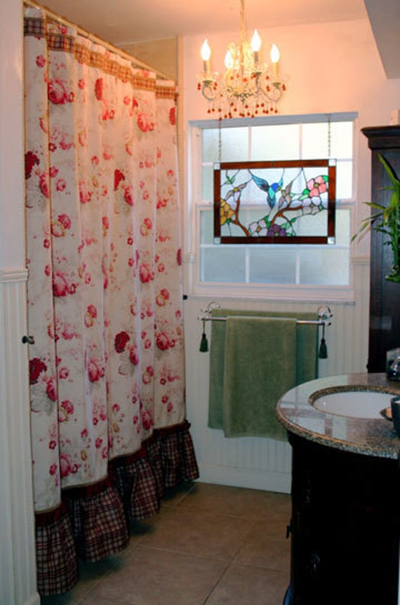 RESERVED for Susan Osteng - Vintage Style Rose Print Fabric Shower Curtain