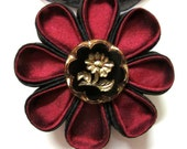 RUBY BLOOM  Silk Kanzashi Flower Pendant Necklace