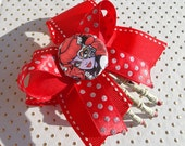 Monster High (Inspired) Operetta Skeleton Hand Hair Clip with Red Poka Dot Layered Bows and Hot Rod Red Nails