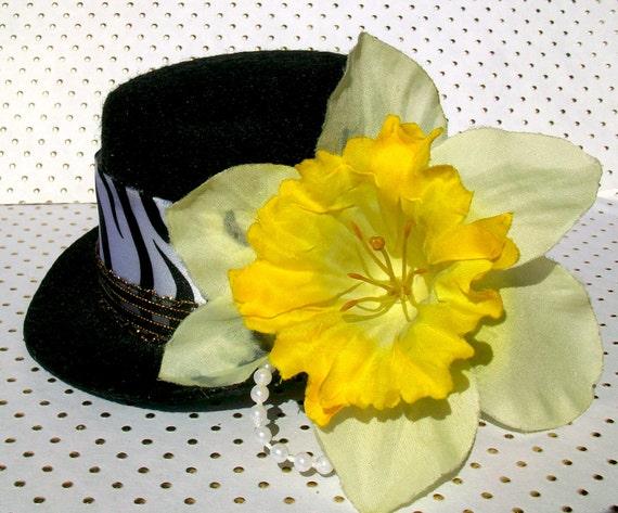 Yellow Daffodil and Zebra Print Bow Mini Top Hat with Plastic Pearl Loops