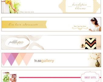 Pre-made custom Etsy banner set - - modern simple 3 piece - with your product image