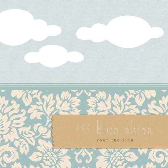 Modern Etsy shop set - -7 piece - Blue Skies - - OOAK