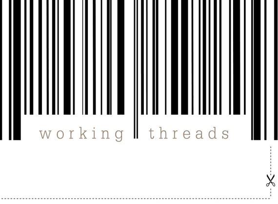 Modern Monochromatic Pre-made Etsy Shop Set -  bar-code 7 piece OOAK - Working Threads