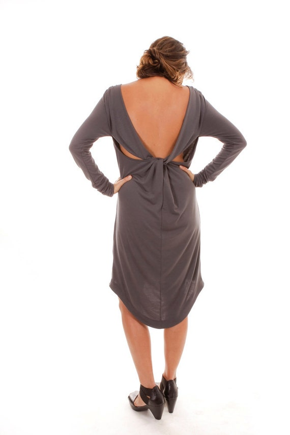 Sale 70% OFF Backless Dress, long sleeve dress, gray dress with open back
