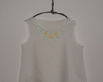 Vintage Baby Slip with Yellow andGreen Embroidery