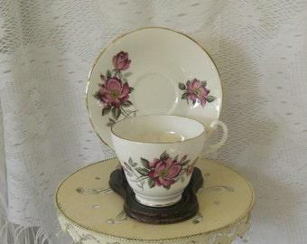 Vintage Royal Ascot  Tea Cup Dark Pink Open Rose Tea Cup and Saucer