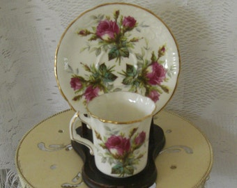 Vintage Tea Cup Hammersley Grandmother's Rose Bone China Tea Cup and Saucer with Dark Pink rose