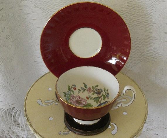Vintage Pembroke Dark Red Floral Tea Cup and Saucer