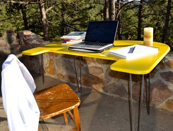 Desk - Vibrant Yellow - Mid-Century Modern