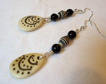 Recycled Paper, Agate and Bone Earrings