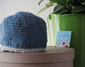 Sky Blue hat with beige trim.  Boy or Girl  Size 6-12 months.X- Small