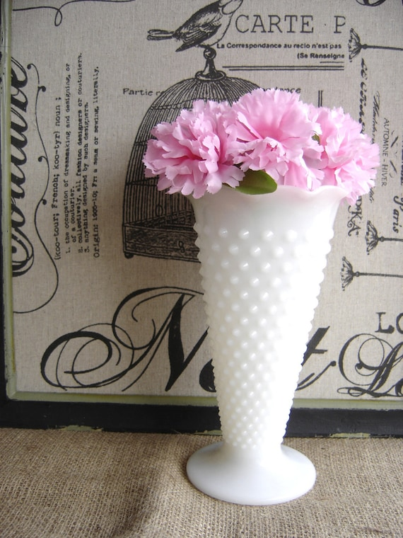 Reserved for Katie - Vintage Hobnail Milk Glass Flared Vase