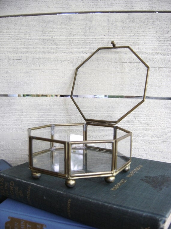 SALE - Vintage Brass and Glass Box - Octagon