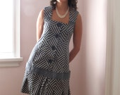 Upcycled Graphic Print School-Girl Dress in Navy Blue with Low-Rise Pleated Skirt and Large Buttons
