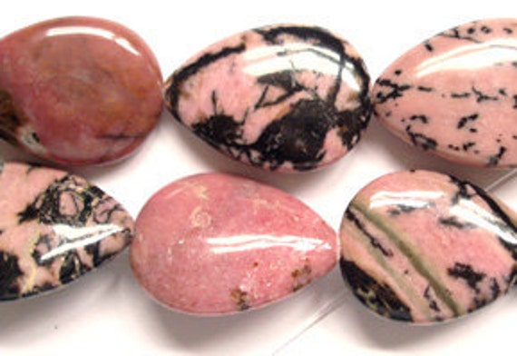 Red And Black Granite : Pink and black rhodolite tumbled healing stone approx