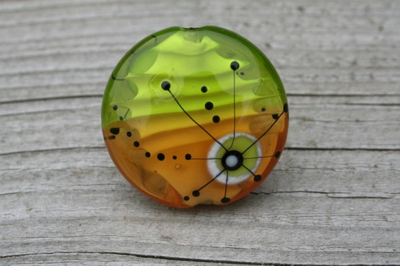 SALE... -10%... Satellite series green and brown together - handmade lampwork focal bead - SRA
