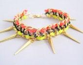 Handmade Neon Spike Bracelet