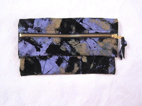 Handmade Suede METALLIC Gold & Lavender Splatter Foldover Not-So-Mini Clutch//LIMITED EDITION