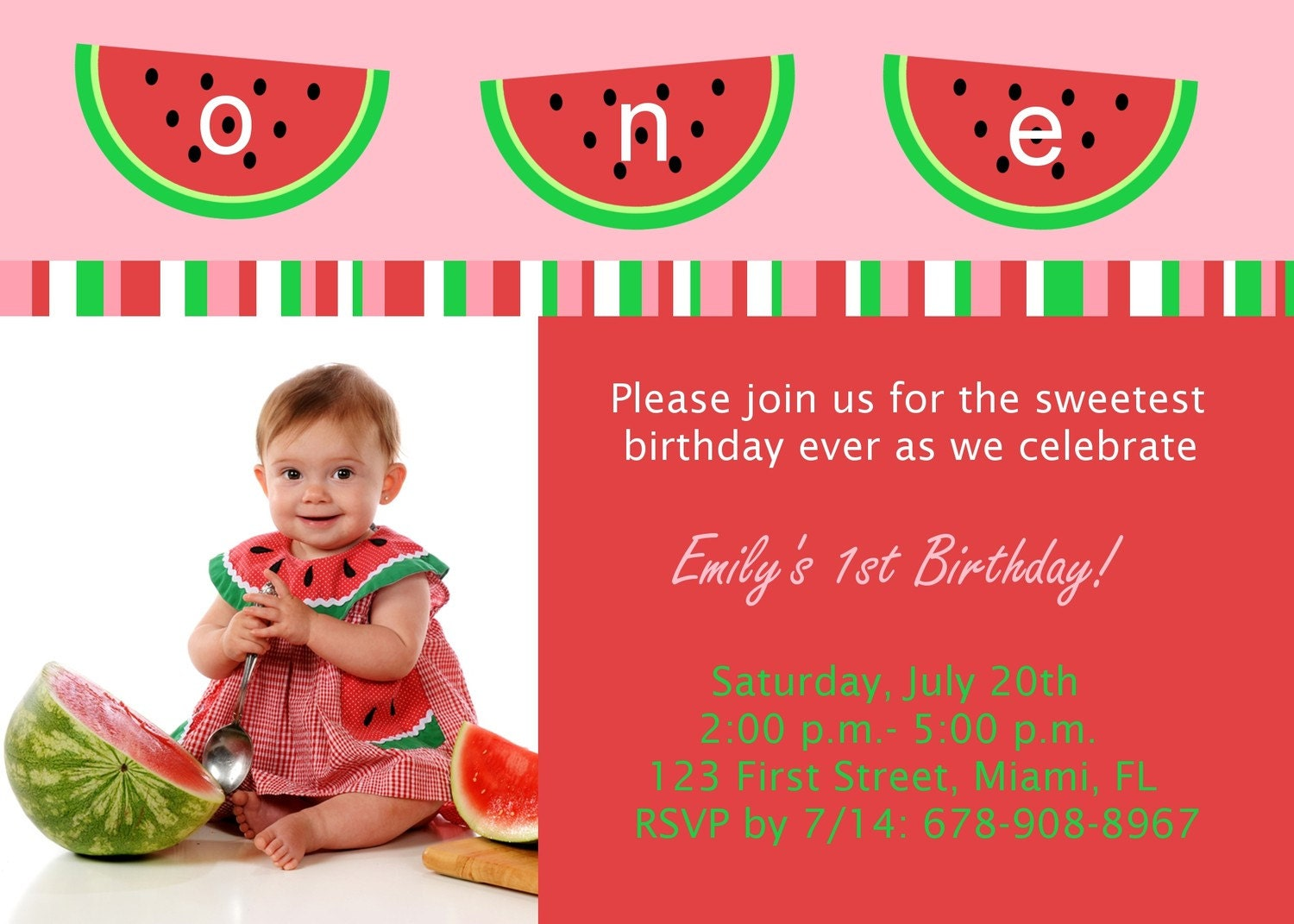 watermelon birthday party invitation diy printable, Birthday invitations