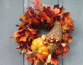 Cornucopia Fall Harvest Wreath On Sale Now by Silk N Lights