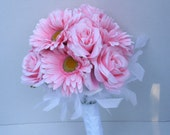 Pink Rose and Gerbera with White Feathers Bouquet by Silk N Lights