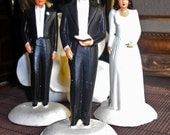 Wonderful Hand Painted- Vintage 1940s Wedding Cake Toppers Bride Groom and Preacher Makes 3-Chalkware
